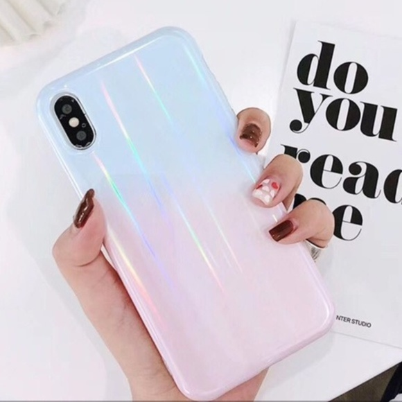 Accessories - NEW iPhone 7/8 Blue & Pink Ombre Laser Case